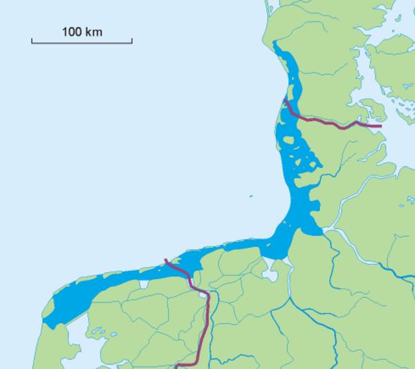 Kort over Vadehavet  Morze Wattowe